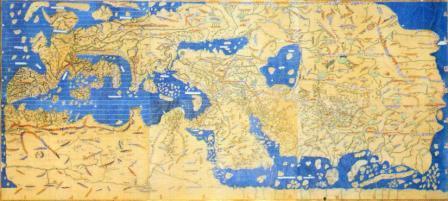 Реконструкция карты мира Идриси. Для лучшей ориентации ее нужно  рассматривать, поставив вертикально, так, чтобы север был вверху.